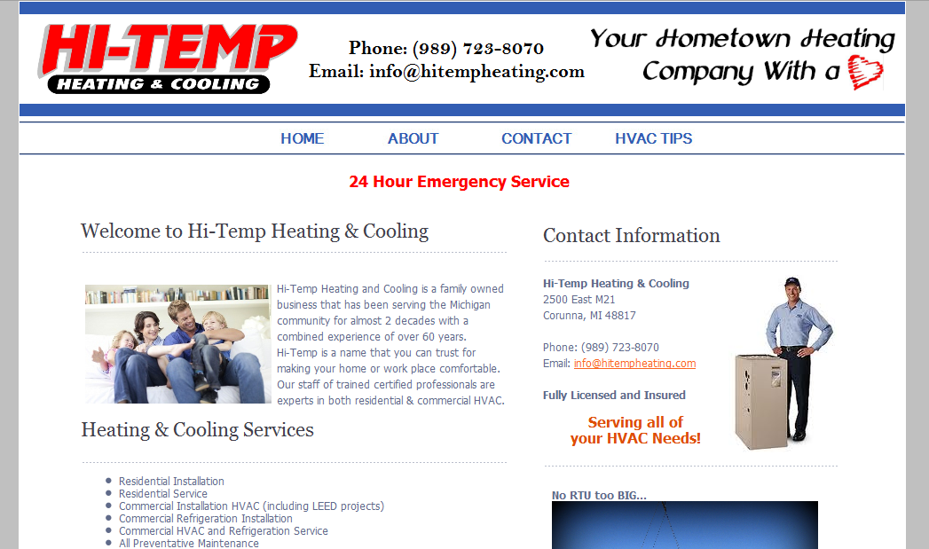 Hi-Temp Heating & Cooling Website – Michigan
