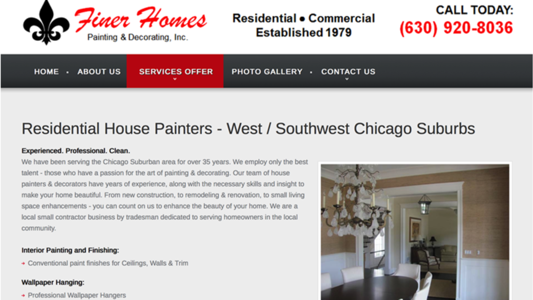 Finer Homes Painting & Decorating  Website – Chicago, IL