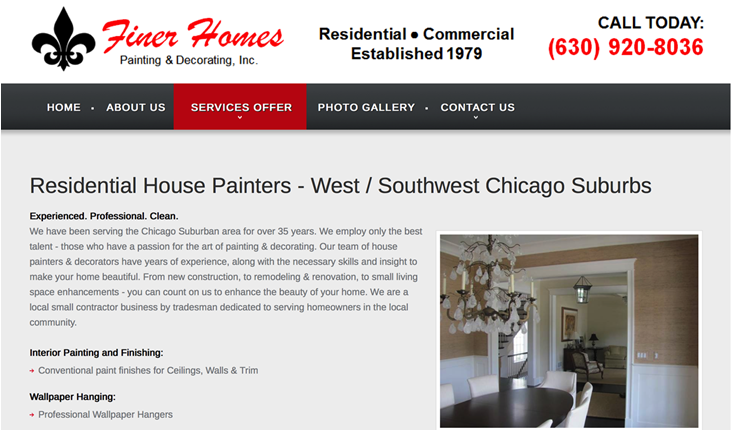 Finer Homes Painting & Decorating Website - Chicago, IL - ContractorWeb
