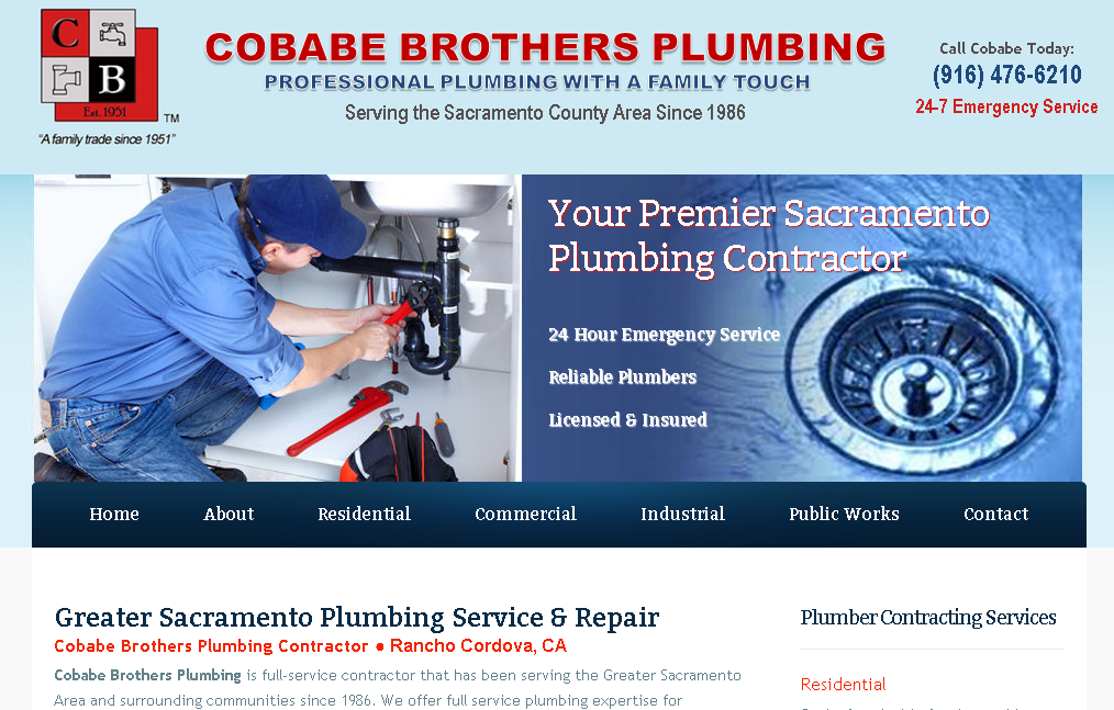 Cobabe Brothers Plumbing Website - California - ContractorWeb