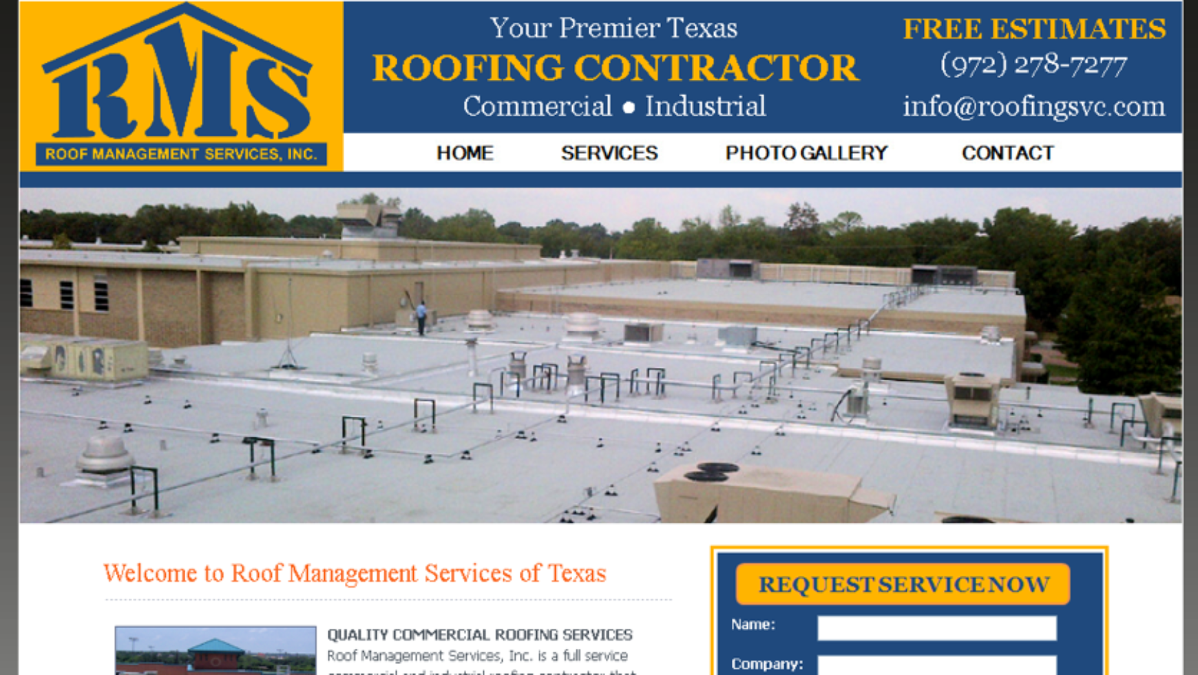 Roof Management Services Website – Texas