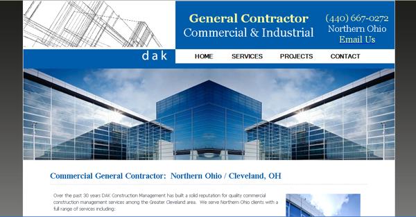 Commercial Construction Website Design   General Contractors