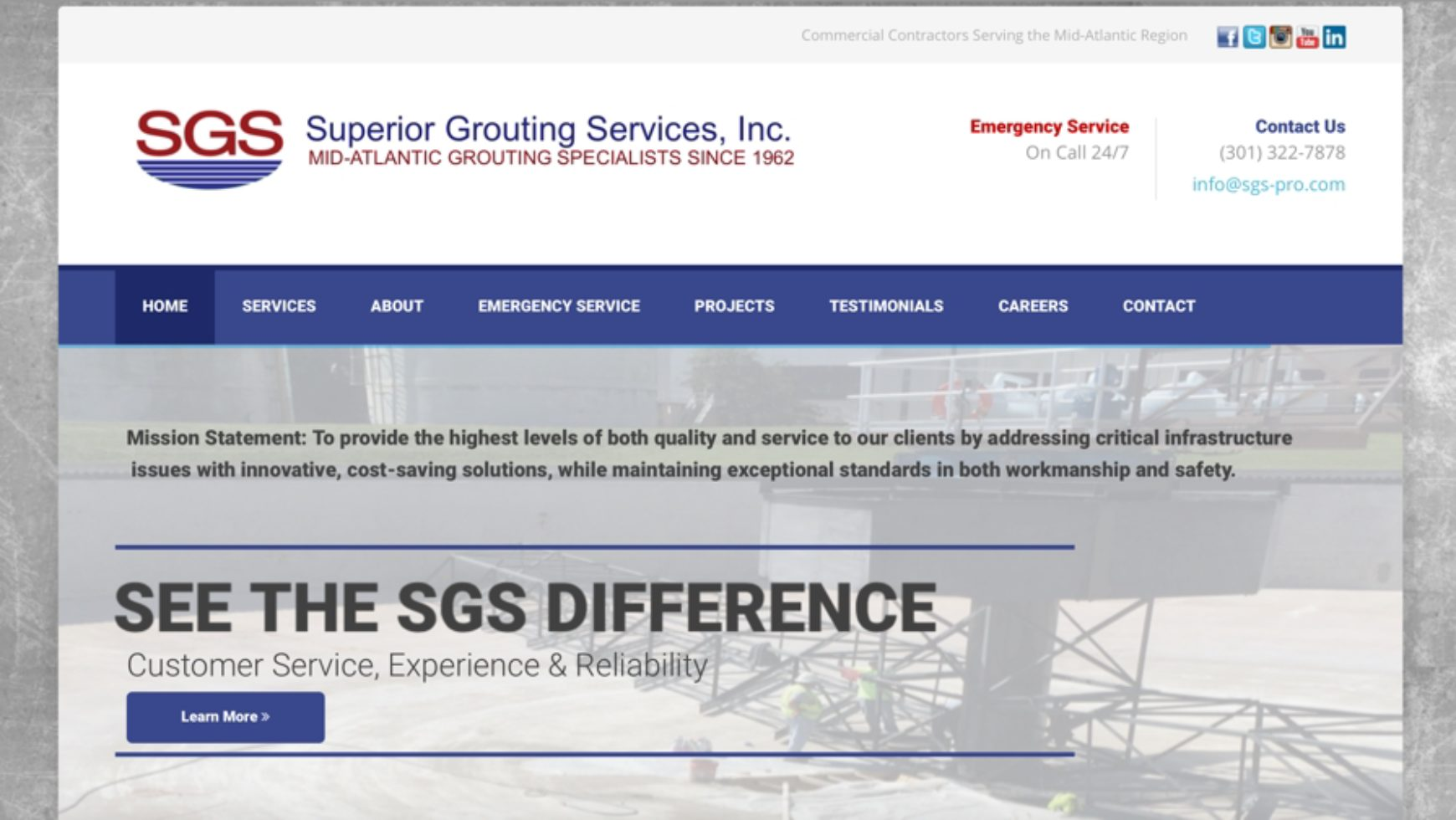 Superior Grouting Services Website – Baltimore, MD