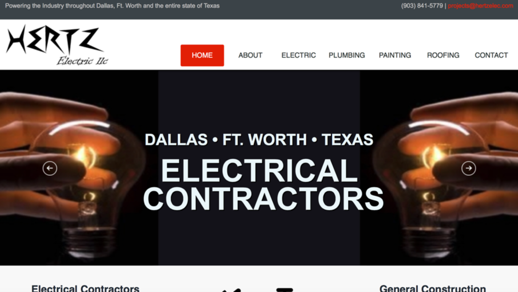 Hertz General Construction Website – Texas