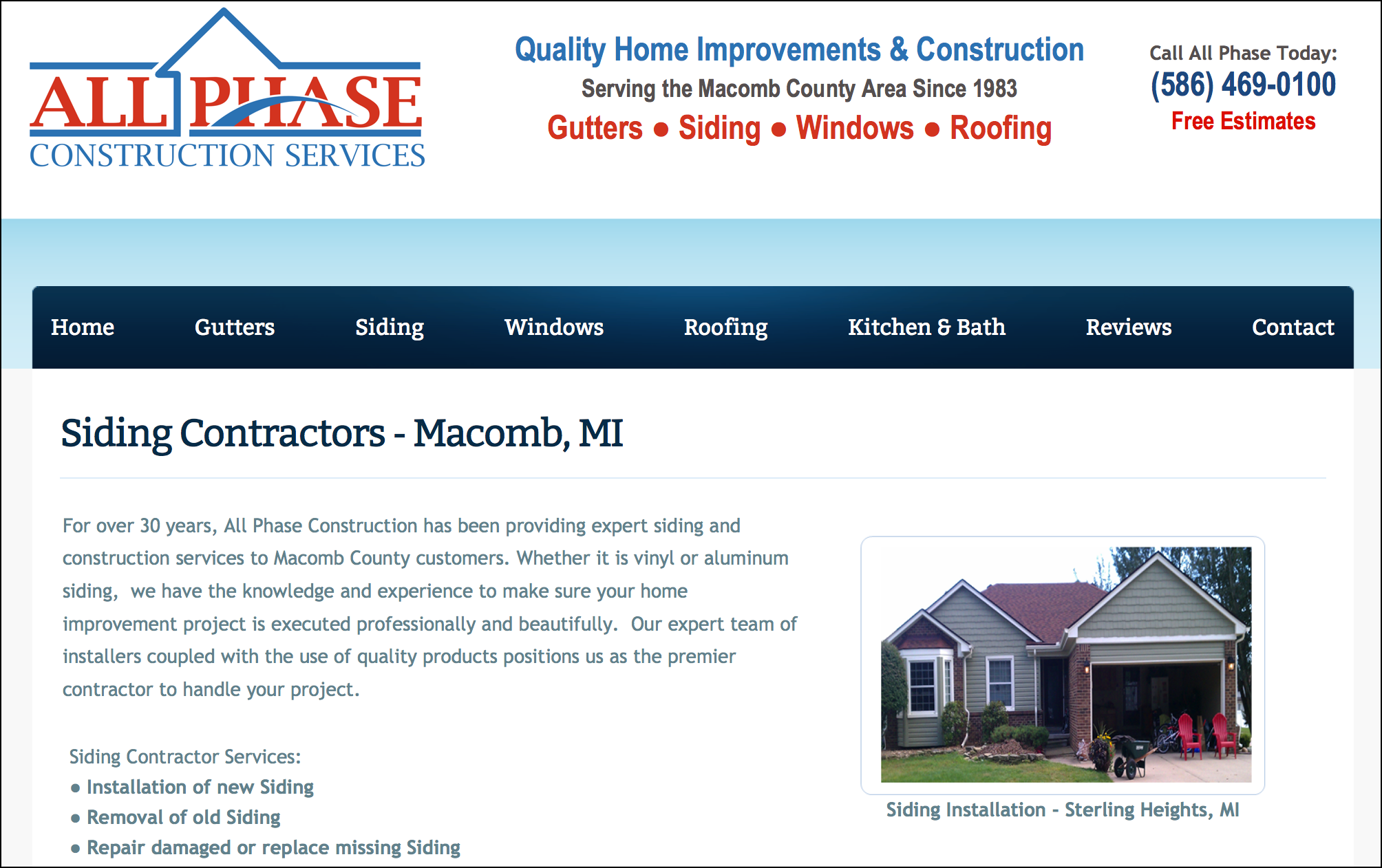 All Phase Construction Services Website – Macomb County, MI