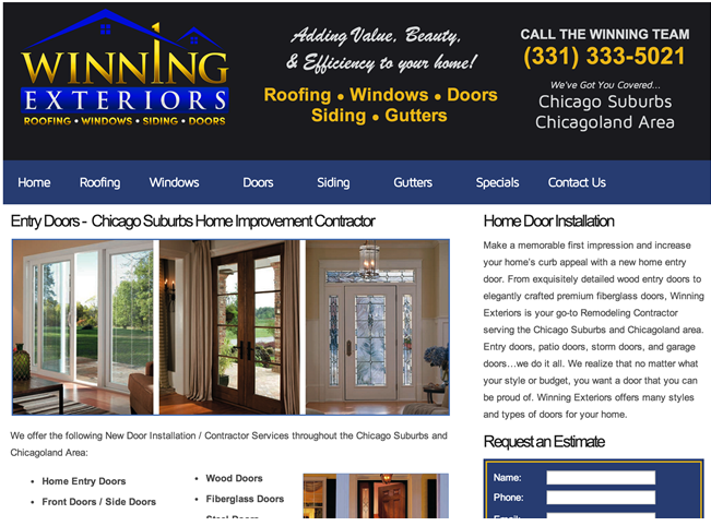 Winning Exteriors Website – Chicago, IL