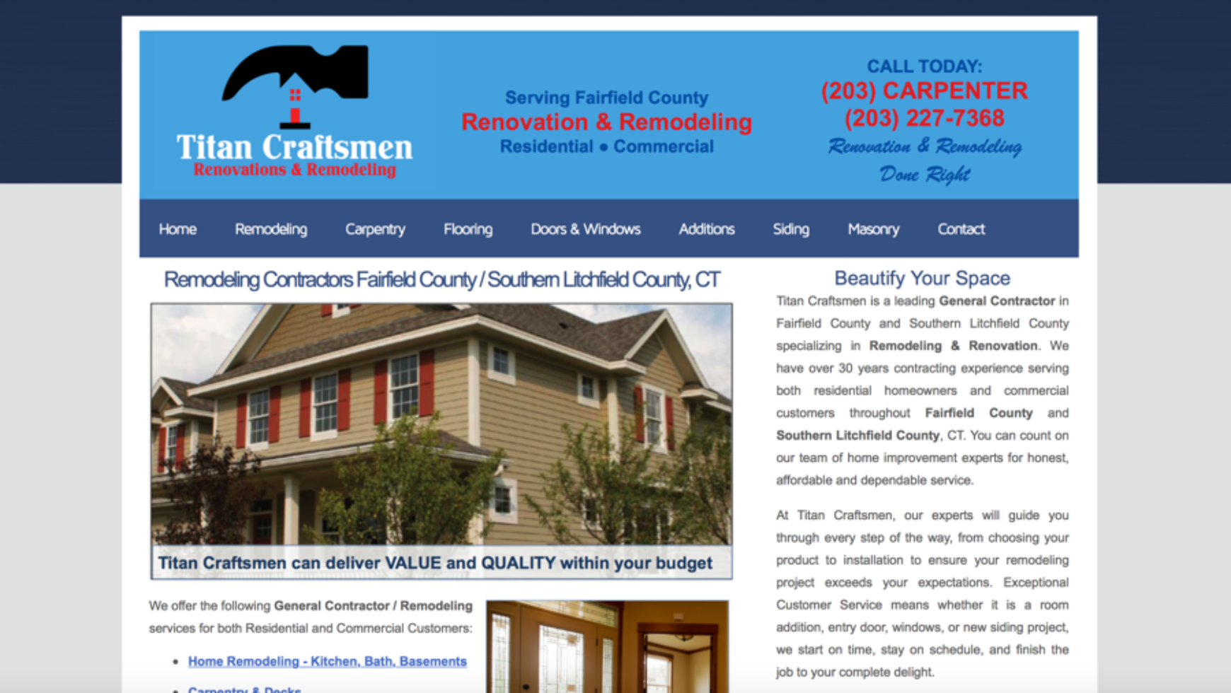 Titan Craftsmen LLC Website – Connecticut