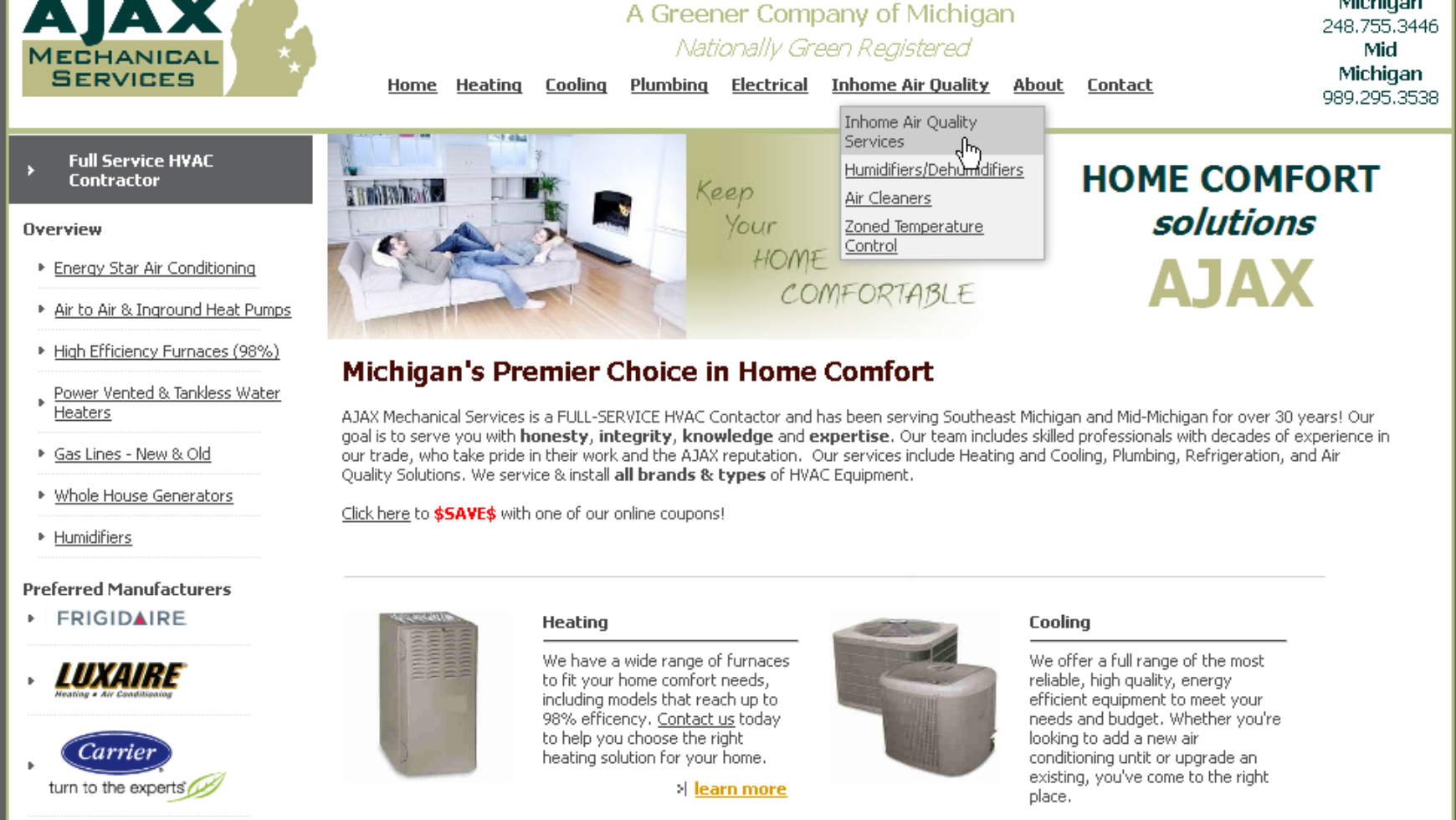 AJAX Mechanical Service Website – Michigan