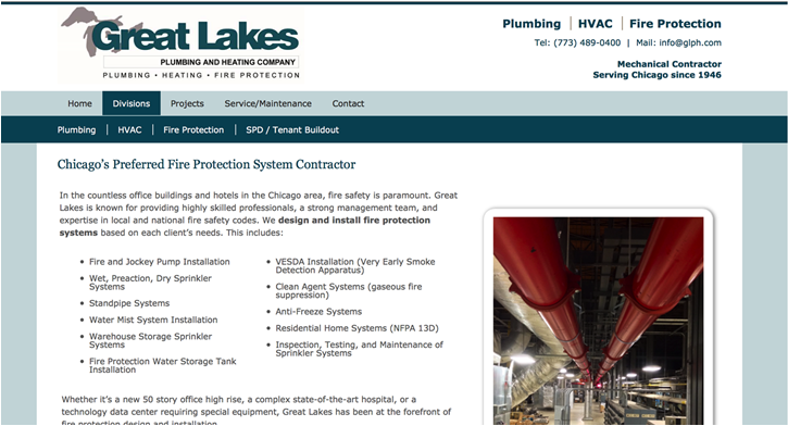 Great Lakes Plumbing & Heating Website – Chicago, IL