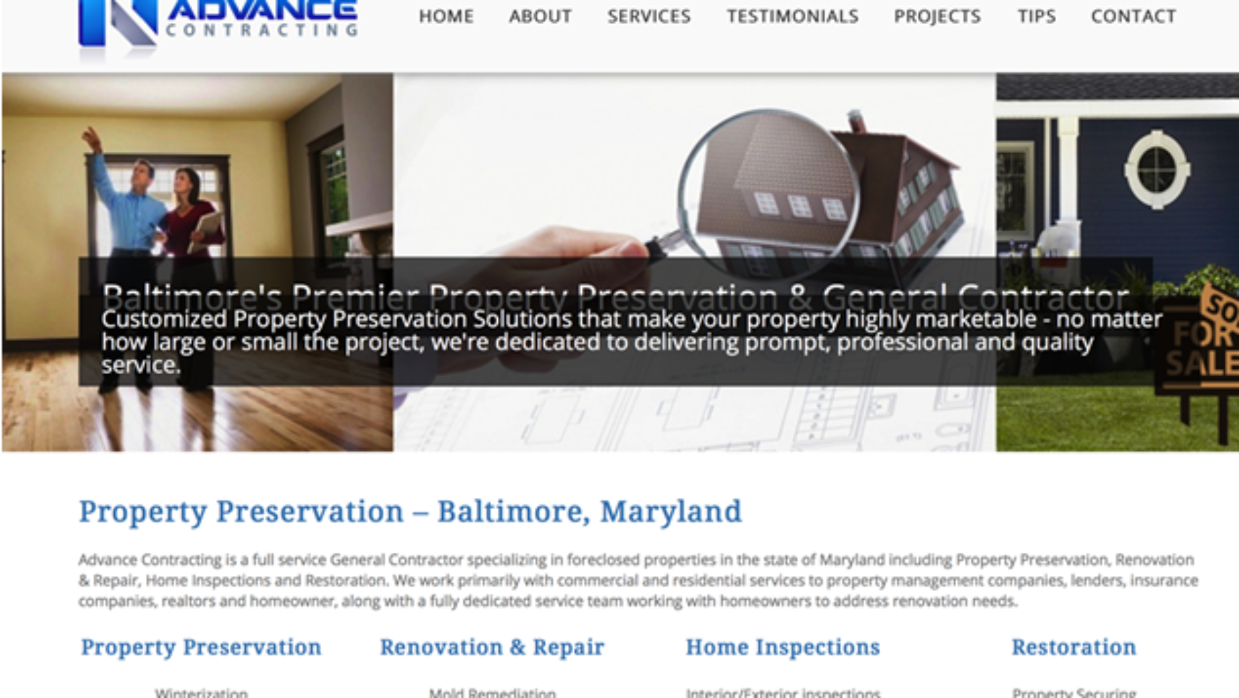Advance Contracting Inc Website – Baltimore, MD