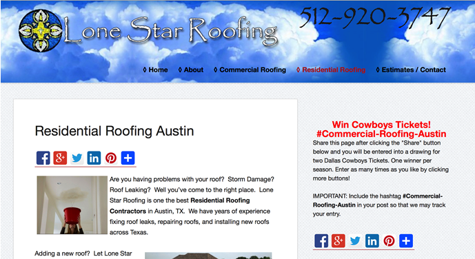Lone Star Roofing Website – Austin, Texas