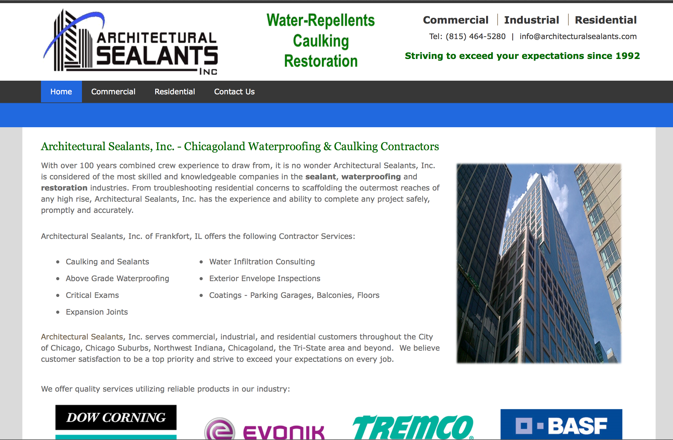 Architectural sealants inc website chicago contractorweb for Architectural websites