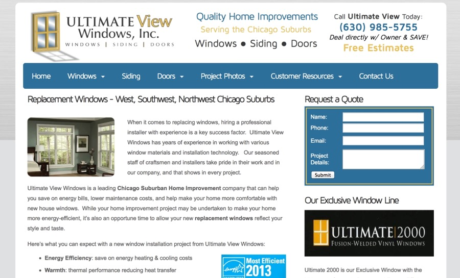 Ultimate View Windows, Inc. Website – Chicago, IL