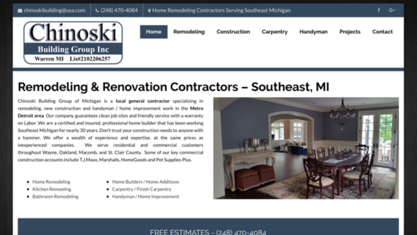 Chinoski Building Group Website – Warren, MI