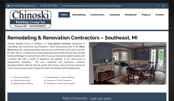 Chinoski building group website warren mi contractorweb for Home building websites