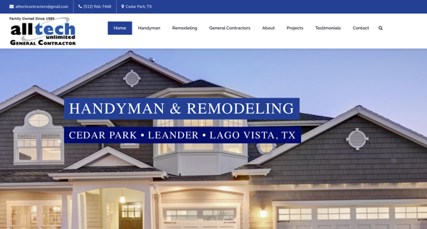Alltech Construction Website – Cedar Park, TX