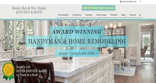 Handy Men & Mrs. Helper Kitchen & Bath Website – Chicago Suburbs