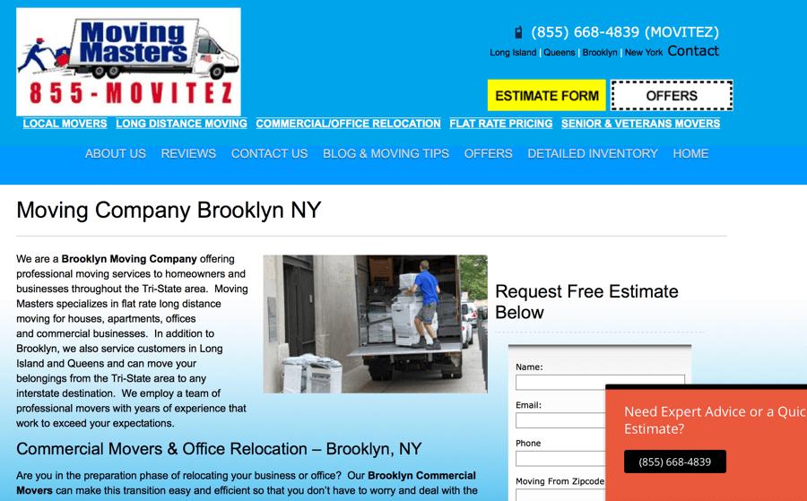 Moving Masters – Moving Company SEO – New York