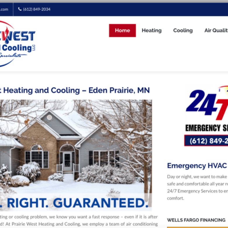 Prairie West Heating and Cooling Website – Eden Prairie, MN