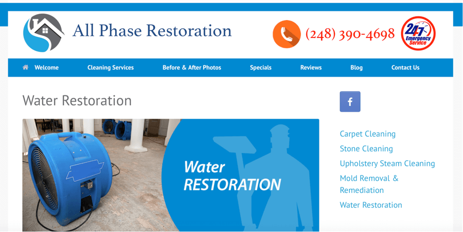 Restoration Contractor Website Design