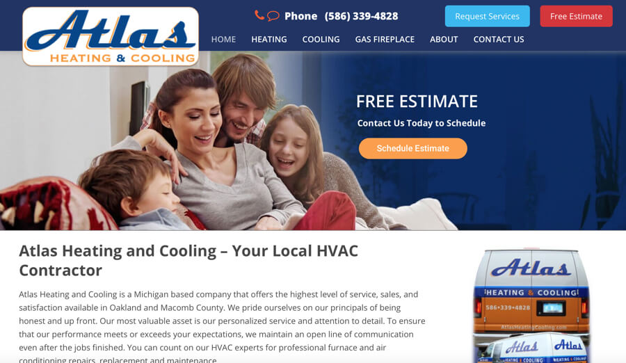 Atlas Heating & Cooling Website – Shelby Township, MI