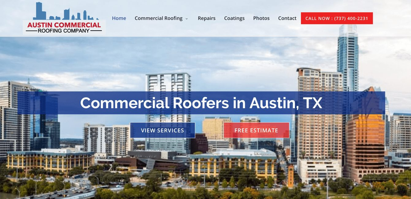 Austin Commercial Roofing Company Website