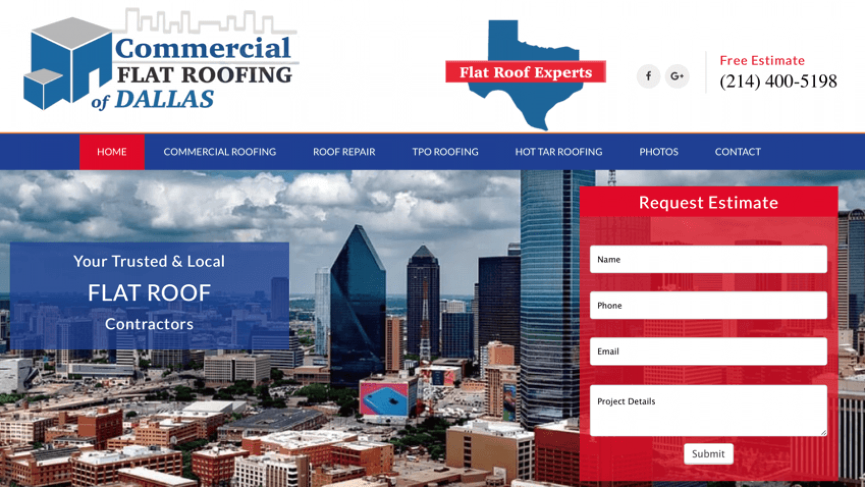 Commercial Flat Roofing of Dallas Website – Dallas, TX
