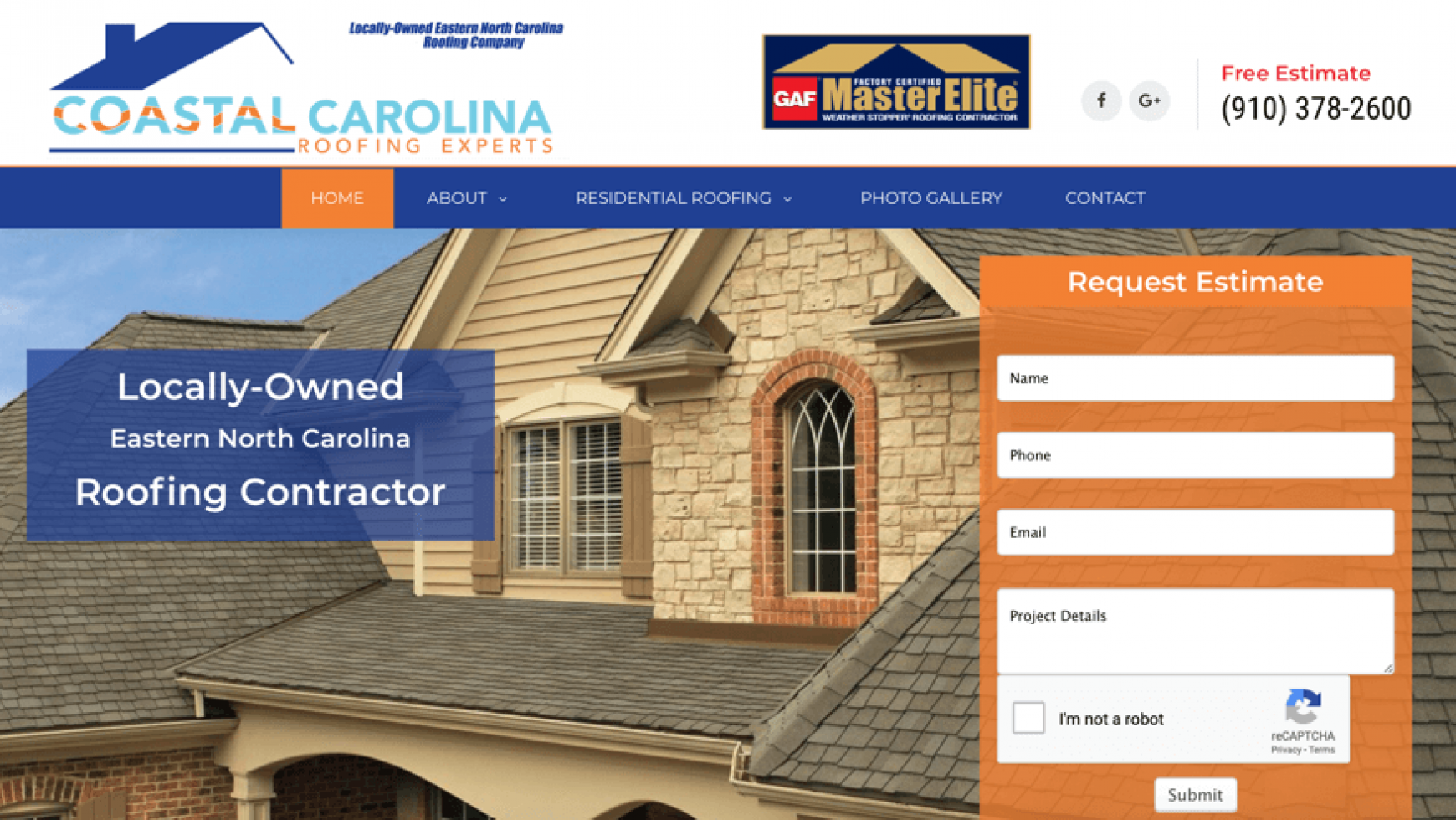Coastal Carolina Roofing Experts Website