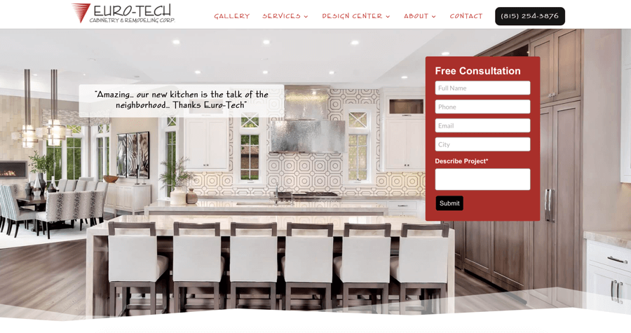 Euro Tech Cabinetry & Remodel Website – Plainfield, IL