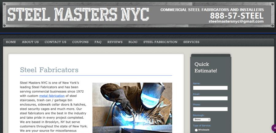 Steel Masters NYC Website